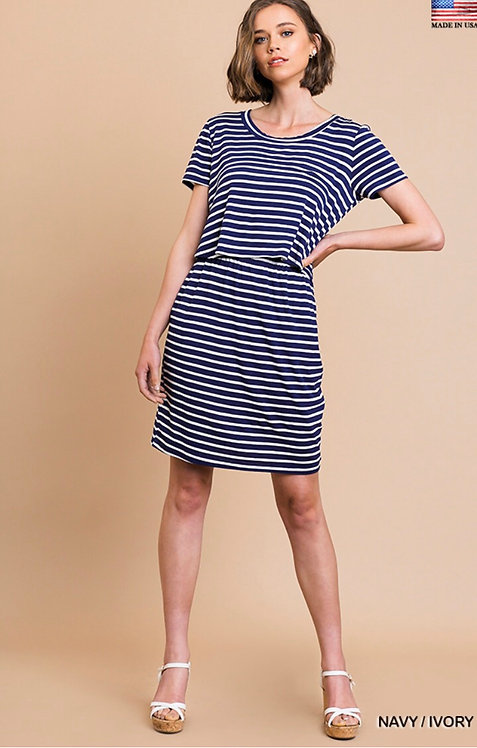 Striped Short Sleeve Round Neck Split Front Dress with Elastic Waist