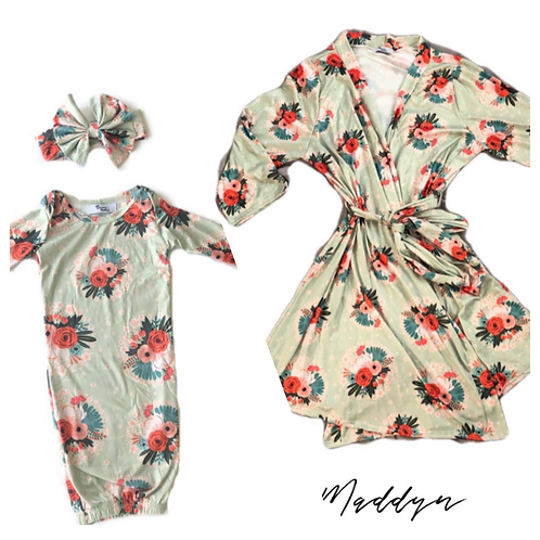 Mommy and infant robe set