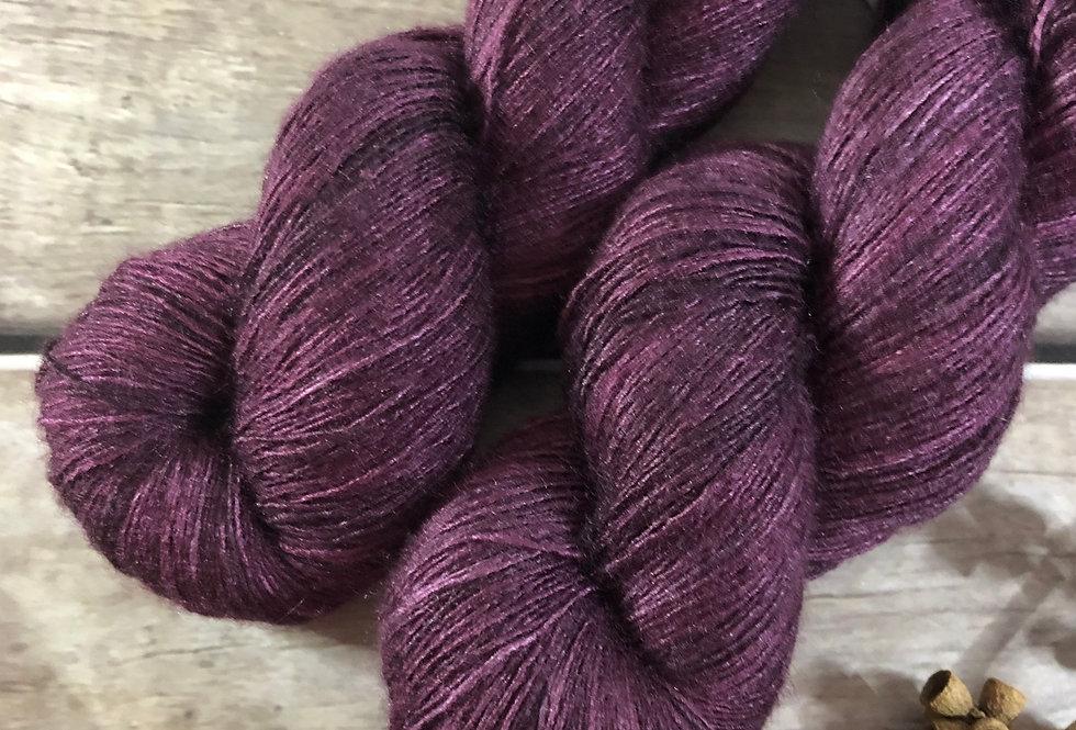 Black Cherry - lace Tussah silk - Ujicha