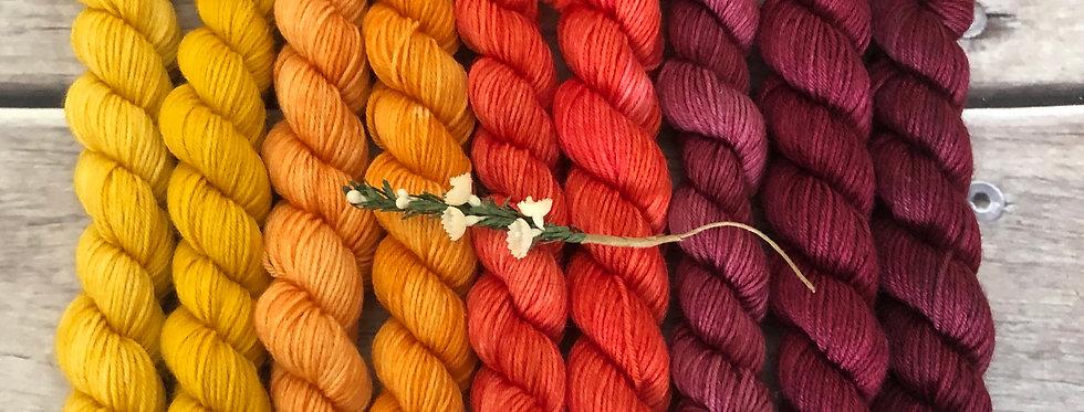 Fireball - gradient mini yarn set - merino/nylon -Mangosteen4