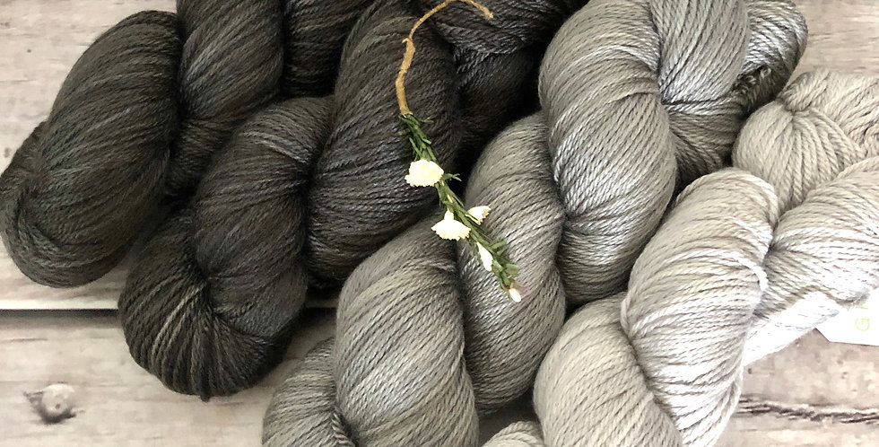 3 Shades of Grey - 4 ply silk and merino - White Cloud