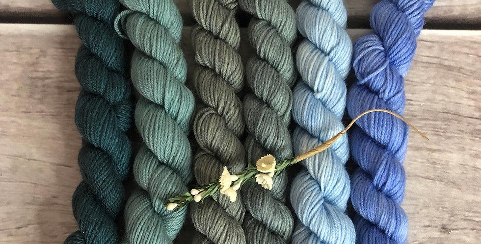 Viola - gradient mini yarn set - merino/nylon -Mangosteen4