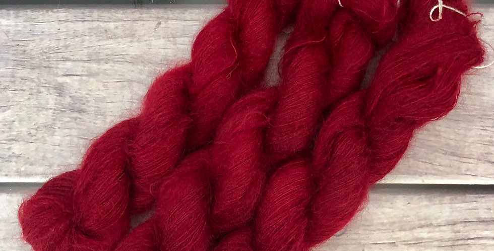Dark Red Lacquer on ShuiYun - 2 ply lace in Mohair and silk