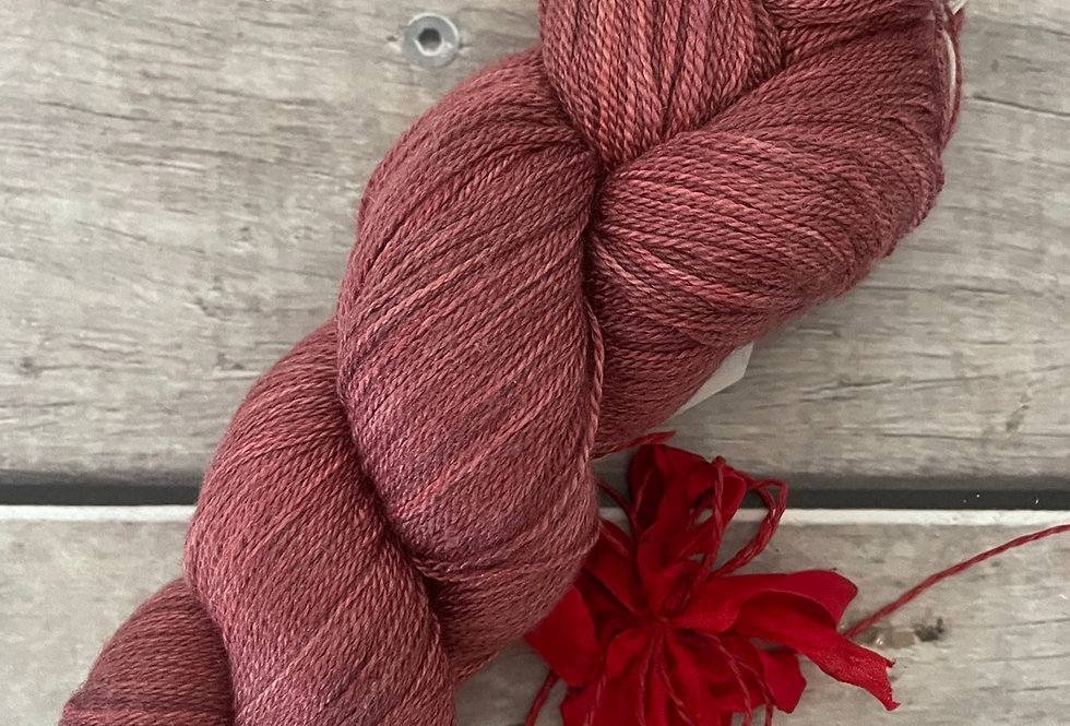 Ming Red - 2 ply in Silk and Merino - Sencha