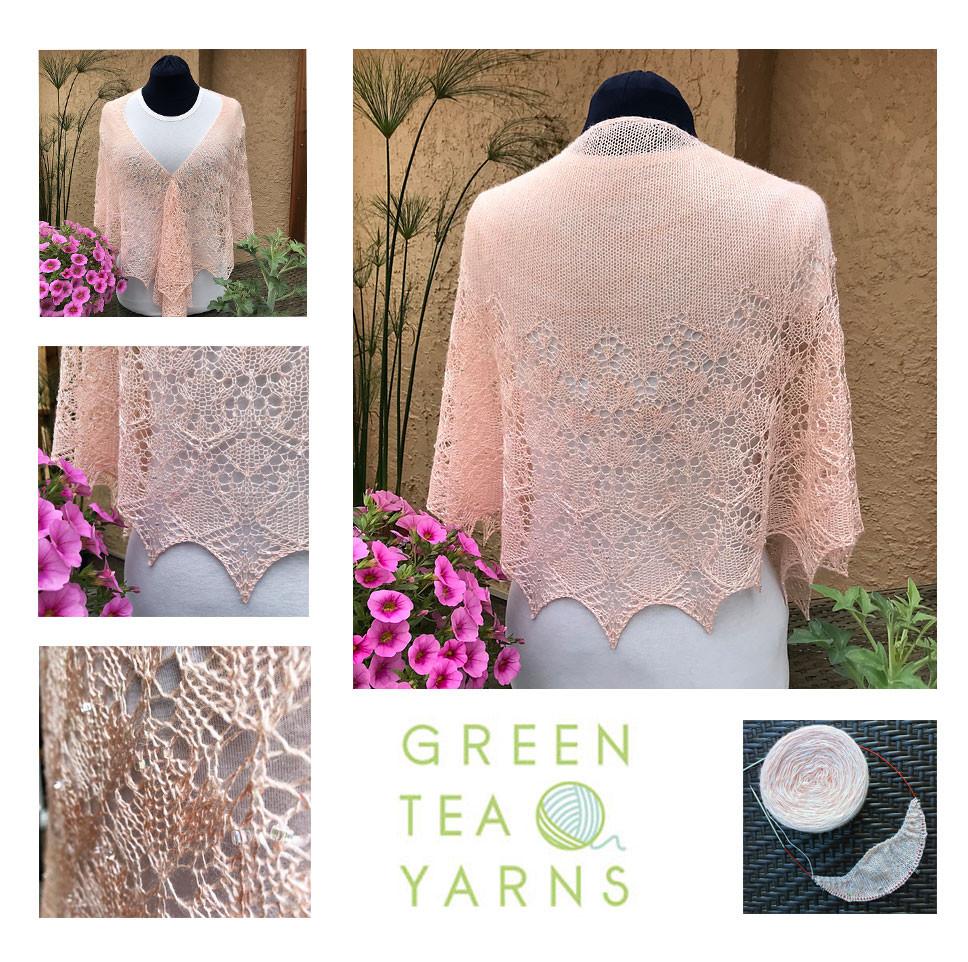 Daisys beautiful Spellbound shawl in Ujicha Seashells colourway