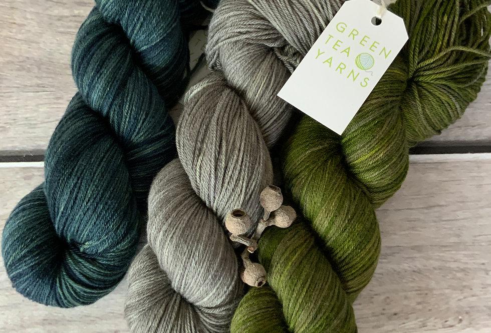 Greener Shades - 4ply sock yarn set in merino and nylon - Darjeeli