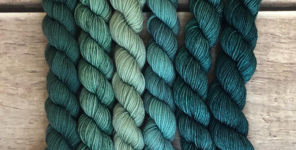 Turquoise Reef - gradient mini yarn set - merino/nylon -Mangosteen4