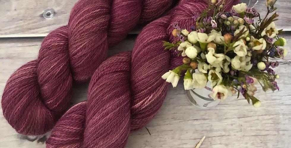 Rose Wine - 3 ply silk and merino - White Cloud