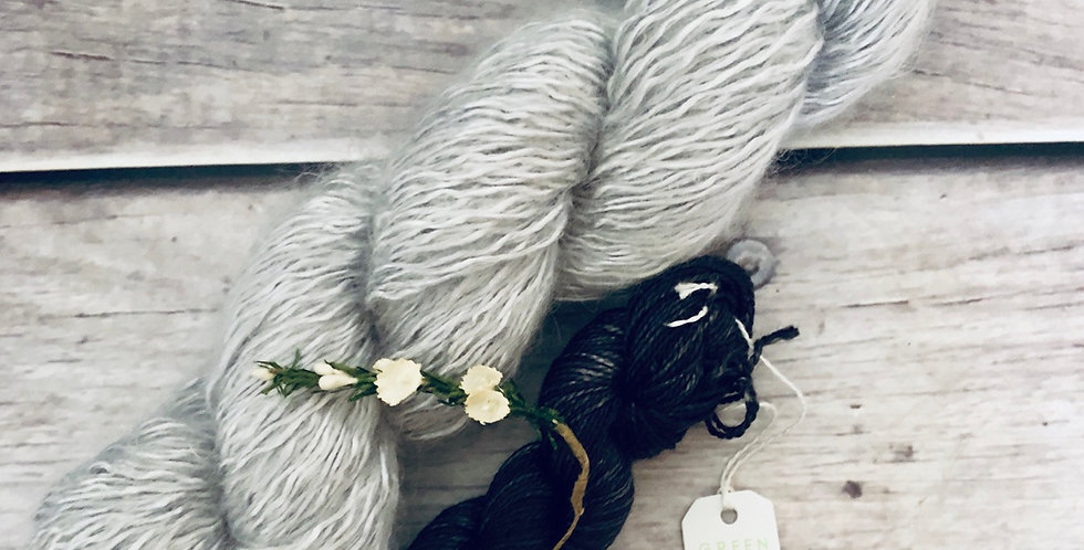 Silver Ashes - 5 and 4 ply - Silk, Mohair and Nylon and Ginseng set