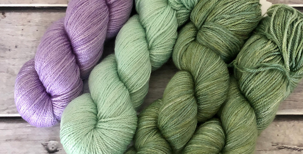 Lilacs by the Water - 4 ply silk and merino - White Cloud