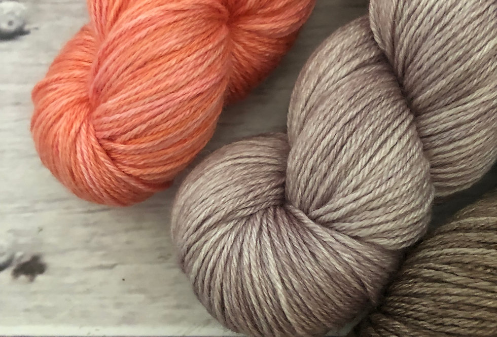 Awake at Dawn Set - 4 ply in Mulberry silk and BFL