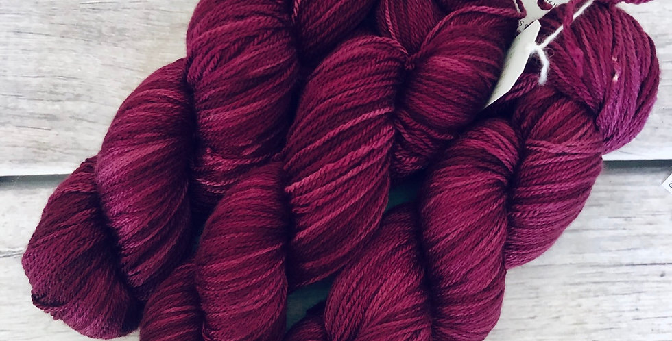 Royal Aubergine ooak - 4 ply silk and merino - White Cloud