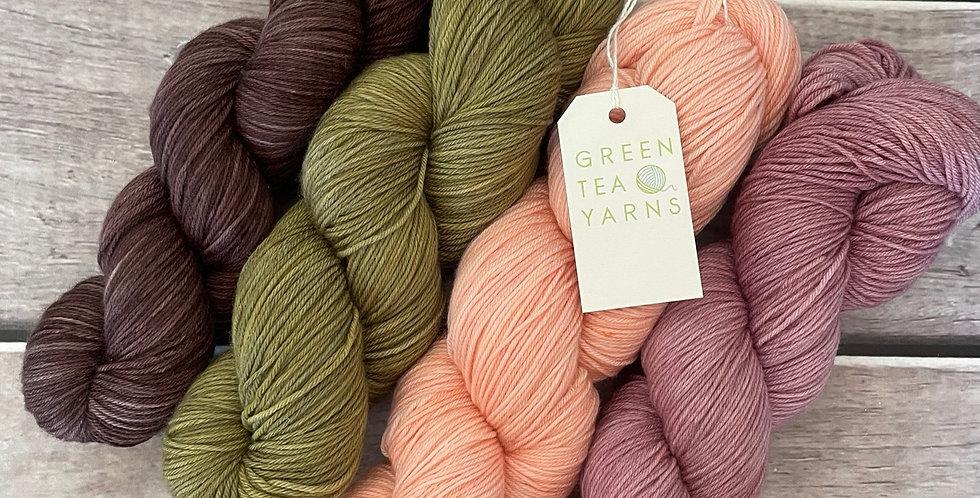 Mangrove and Roses - 4ply sock yarn set in merino and nylon - Darjeeling