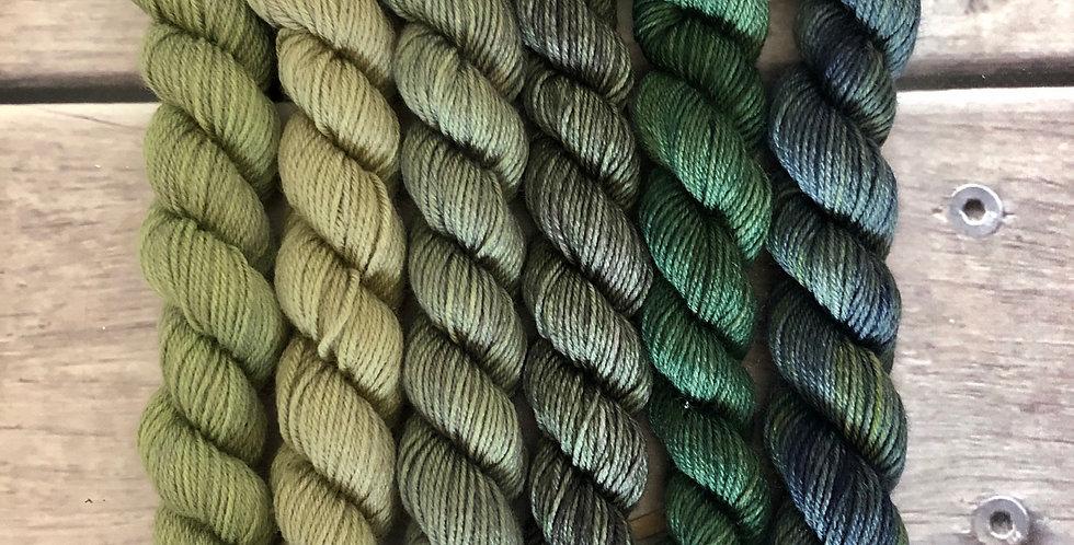 Forest View - gradient mini yarn set - merino/nylon -Mangosteen4
