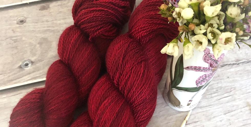 Dark Lacquer Red - 3 ply silk and merino - White Cloud