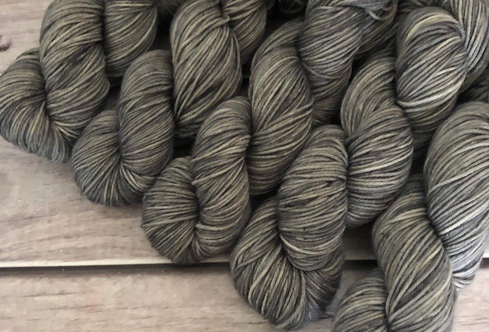 May's Grey - on 8 ply merino and nylon sock yarn - Mangosteen 8