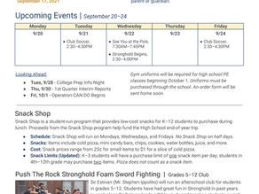 Announcements & Events: September 17, 2021