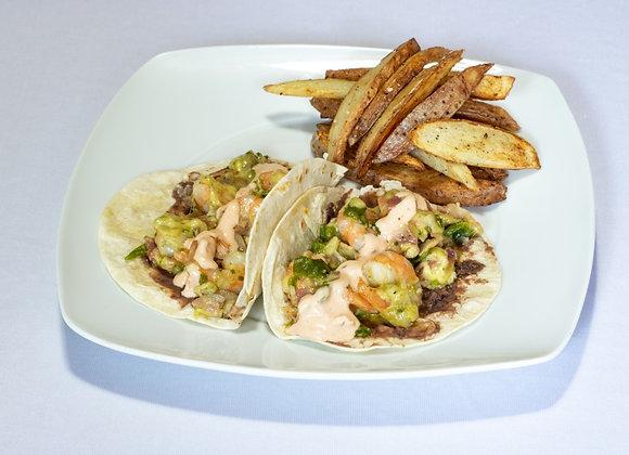 Tacos de camaron estilo tex-mex con tortilla de harina (Chef Sofía Rodríguez)