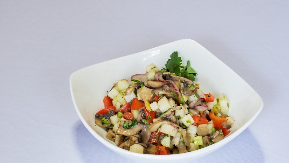 Ceviche vegetariano de champiñones con jícama (Chef Sofía Rodríguez)
