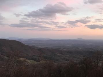 Blue Ridge mountain view at sunset