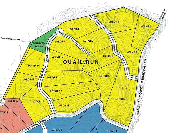 Blue Ridge mountain home sites in Quail Run