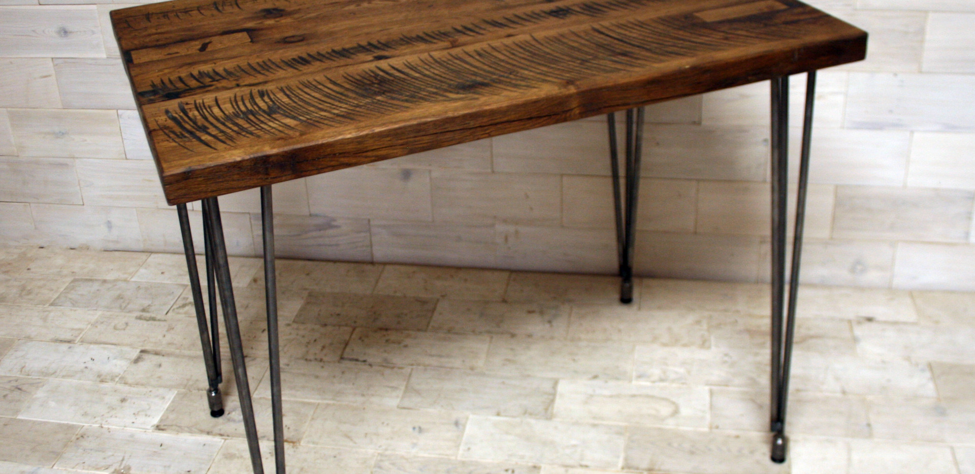 Tobacco Oak Table with Steel Hairpin Legs