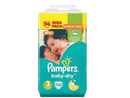 Pampers Baby Dry Luiers   Maat 3   136 st. € 21,95