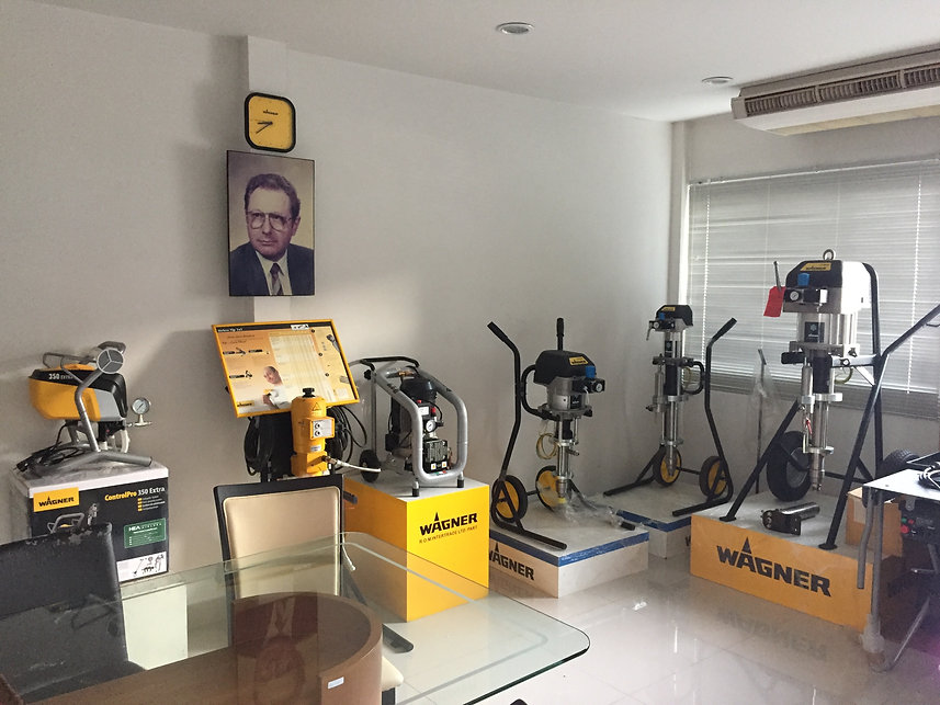 The showroom of coating equipment product by ROM Intertrade