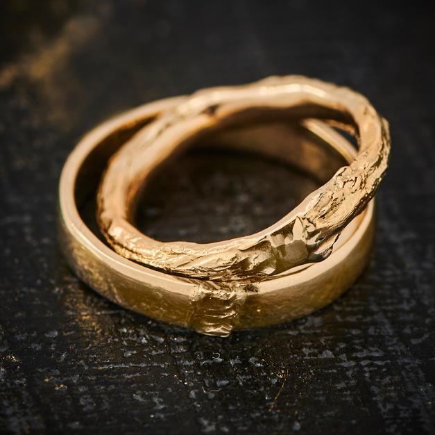 """""""Min i din"""" ringe i 14 karat guld"""