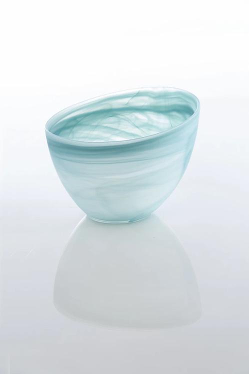 Turquoise Frosted Alabaster Slanted Bowl