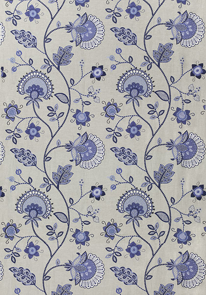 Portofino Embroidery Blue on Natural W72