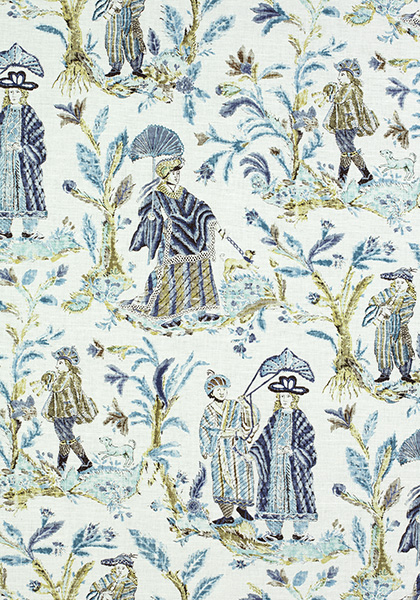 Royale Toile Turquoise and Navy F972574