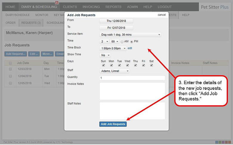 Create requests associated with a servic