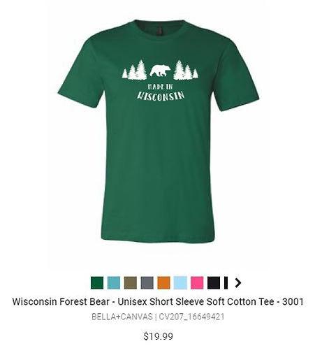 Made in Wisconsn Bear T-Shirt - We Make T-Shirts - Racine Wisconsin