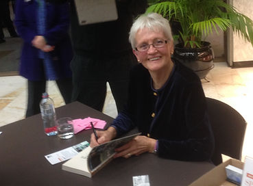 Biff Ward signing copies of her novel
