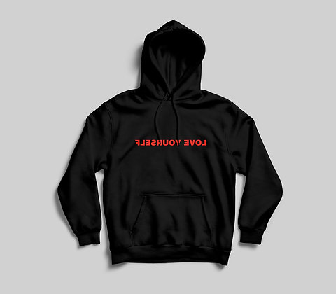 Love Yourself Hoodie (Red on Black)