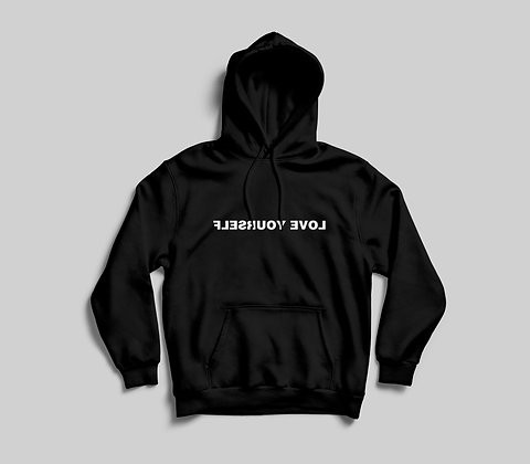 Love Yourself Hoodie (White On Black)