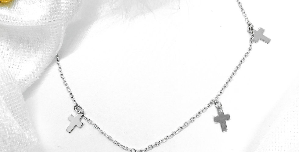 cross choker silver