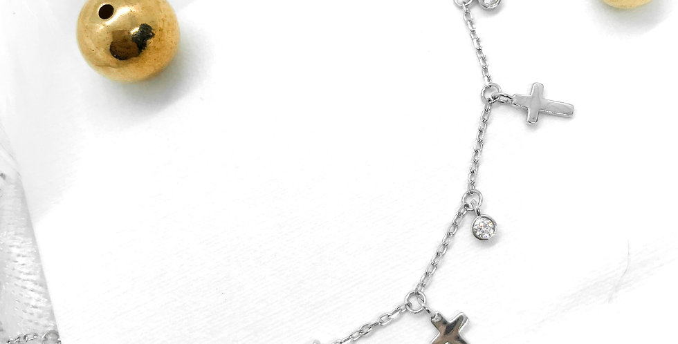 silver tiny cross choker