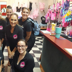 The Academy of Dance staff at the end of the very busy first day of 2018-2019 classes at the Yorktown Studio! ;-)   Here's Miss Ellen, Miss Bri, Miss Megan, Miss Tiffany, Miss Linda C, Miss Stacy, Miss Linda H, Miss Michaela, and Miss Brittany. (Miss Katie was still teaching the last class and is not in this picture.)