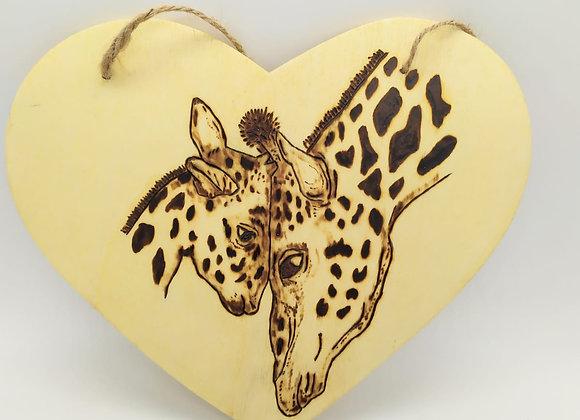 Giraffe Pyrography Heart 18cm