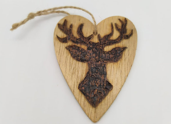 Small Stag Heart Pyrography