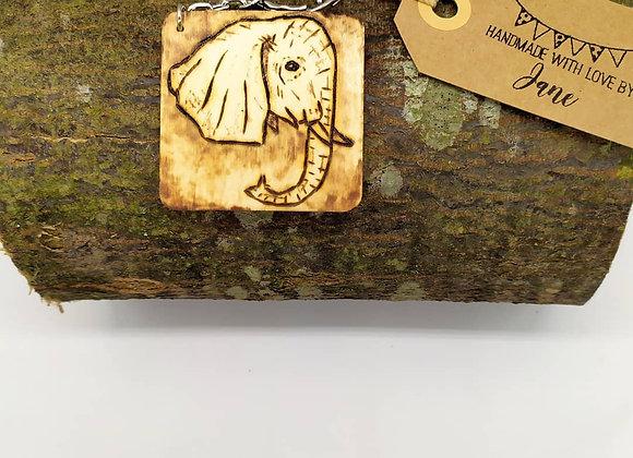 Elephant Pyrography Keyring