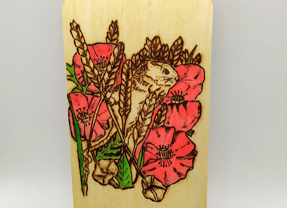 Harvest Mouse in Poppies Pyrography