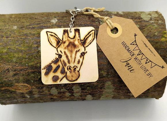 Giraffe Pyrography Keyring