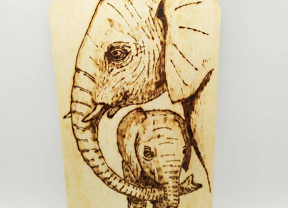 Elephant and Baby Pyrography