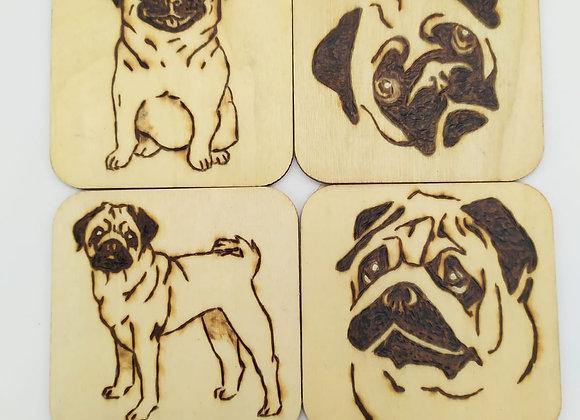Pug Coasters Pyrography set of 4