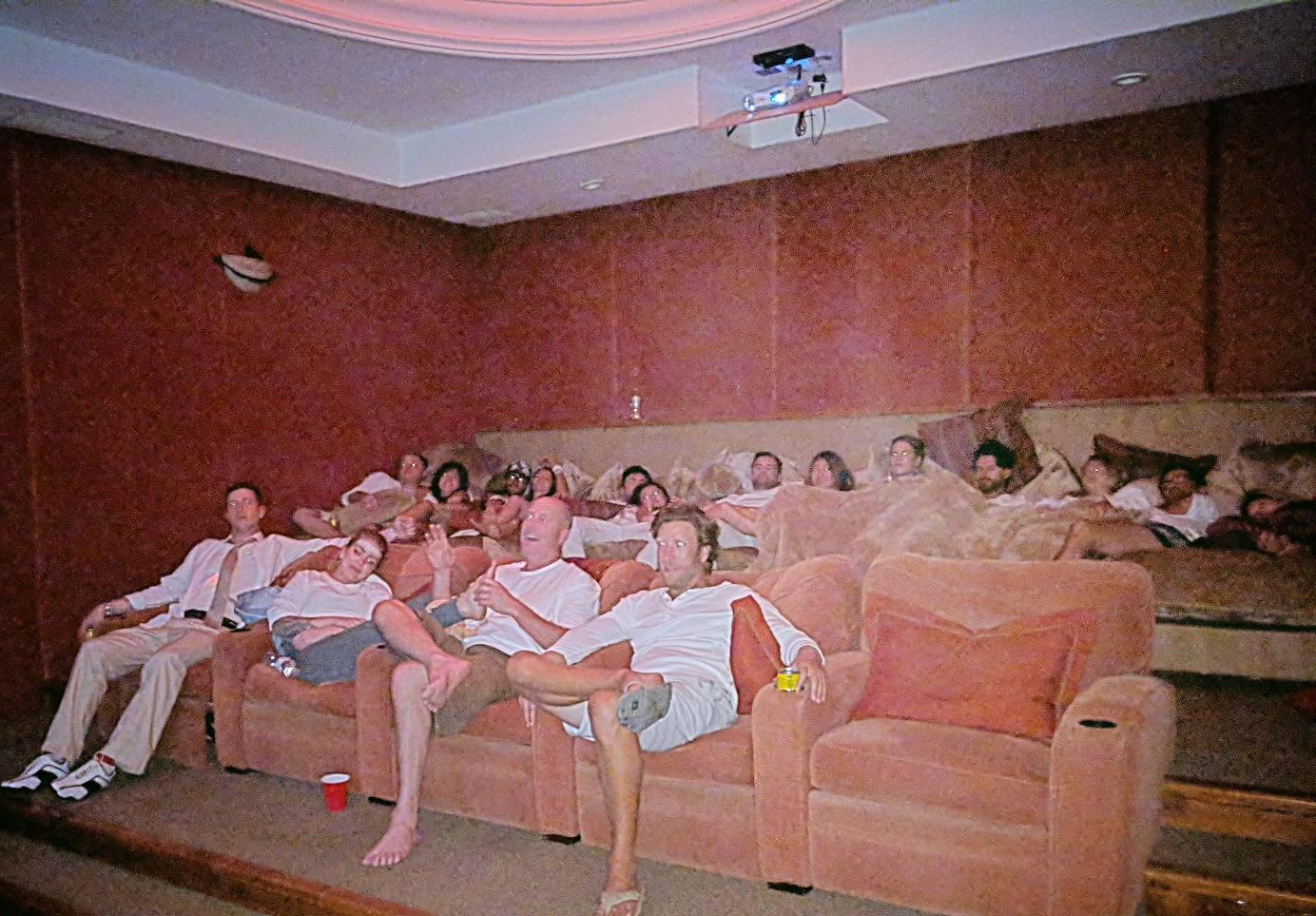 Cuddle puddle in the private theater