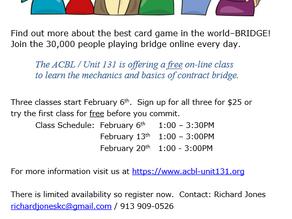 Free Online Bridge Lesson February 6th