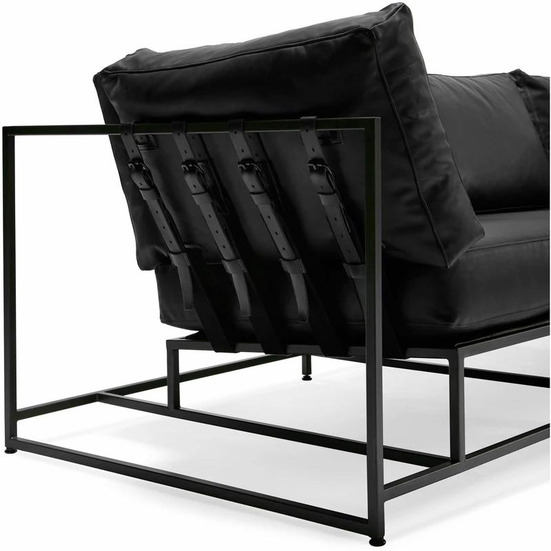 Black Leather Sofa, Black Metal Frame Sofa